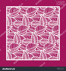 laser cut square ornamental panel leaves stock vector 537230410
