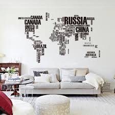 large nation name world map wall sticker living room wall decals