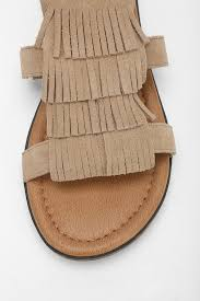 minnetonka maui fringe sandal in brown lyst