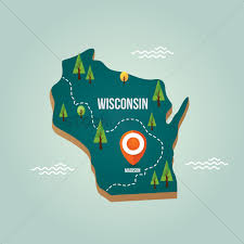 Wisconsin Map by Wisconsin Map With Capital City Vector Image 1536592