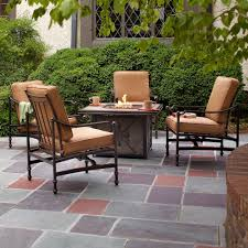 Patio Chairs With Cushions Hampton Bay Niles Park 5 Piece Gas Fire Pit Patio Seating Set With