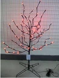 set of 3 lighted twig trees 4ft purple lights aaa