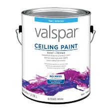 shop valspar ceiling white flat latex interior paint and primer in