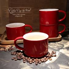 300ml german cafe mugs simple red color ceramic office coffee mugs