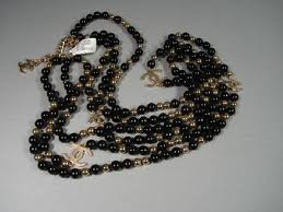 long gold beads necklace images Chanel black gold sky mirror beads triple strand long necklace jpg