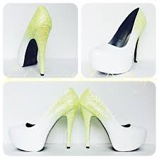 wedding shoes glitter glitter high heels yellow white ombre pumps spakly wedding