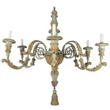 Wood Iron Chandelier 19th Century Italian Painted Wood And Iron Chandelier