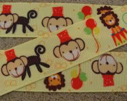 monkey ribbon circus ribbon etsy