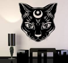Wall Stickers Cats Vinyl Wall Decal Black Cat Moon Witch Magic Witchcraft Stickers
