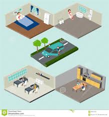 flat 3d isometric abstract home and office floor interior depart