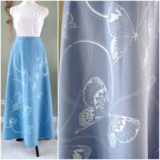 vintage maxi skirt by miss shaheen blue skirt with butterflies