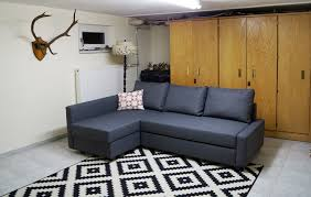 Ikea Sofa Bed With Chaise by Geometric Black And White Area Rug Underneath Gray Ikea Friheten