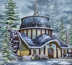 Winter Houses by Wallpapers Winter Spruce 3d Graphics Snow Building