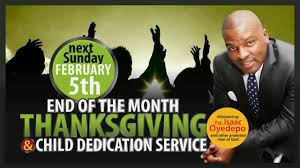 end of month thanksgiving child dedication 2nd service 05022017