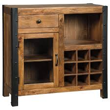 Cabinet Accents Solid Wood Mango Wine Cabinet With Industrial Metal Accents By
