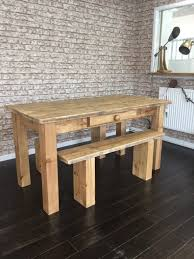 handcrafted dining table and benches sets