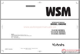 kubota engines shop manual u0026 parts catalog auto repair manual