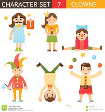 clown 1 april joke fun boys girls characters icon set symbol