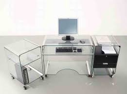 Home Office Computer Desk Furniture Furniture Fetching Glass Top Office Computer Desk In Silver Metal