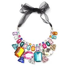 crystal necklace statement images Luxury colorful big crystal statement necklace ribbon chain jpg