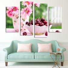 online get cheap sunflower canvas prints aliexpress com alibaba 4 panels sunflower and cherry painting canvas wall art picture home decoration art canvas print painting