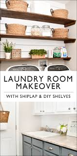 Cheap Laundry Room Cabinets by Budget Laundry Room Makeover With Diy Shiplap And Stained Shelves