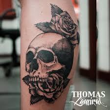 tattoo skull rose leg tattoo tattoo for men nature flowers