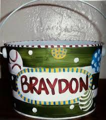 painted easter buckets large painted zebra print easter pail by lynnemackmurals