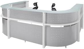 Glass Reception Desk White U Shaped 2 Person Glass Top Reception Desk