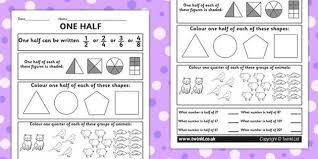 fractions halves activity sheet numeracy maths half fraction
