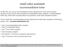 Retail Sales Assistant Resume Sample by Retail Sales Assistant Recommendation Letter