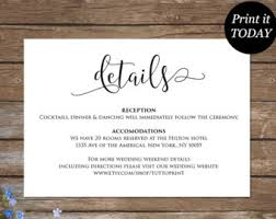 wedding invitations details card wedding details card etsy