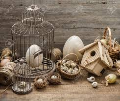 home interior bird cage vintage easter decoration with eggs birdhouse and birdcage
