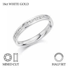 18ct white gold wedding ring 18ct yellow gold half set mixed cut diamond wedding ring g