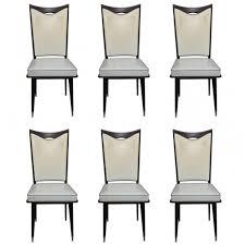 set 6 french art deco walnut dining chairs circa 1940 u0027s french