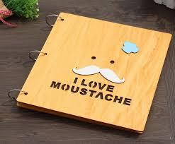 Self Adhesive Album 12 Inch Vintage Handmade Self Adhesive I Love Moustache Scrapbook