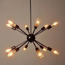 industrial edison bulb chandelier in vintage loft style in black