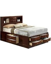 Bed With Bookshelf Headboard Bargains On Claire Rich Espresso Queen 6 Drawer Storage Bed With