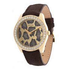 bracelet guess cuir images Guess w0056l2 ladies 3d animal brown leather bracelet watch jpg