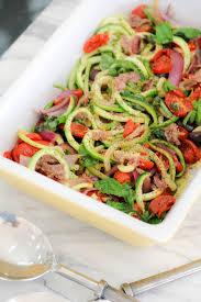italian zucchini pasta recipe with cherry tomatoes and basil