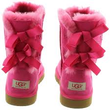 ugg bailey bow boots in pink in cerise