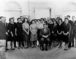 president john f kennedy with his white house staff flickr
