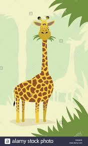 a cute cartoon giraffe eating grass and leaves from trees stock