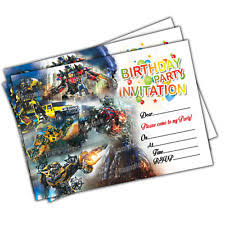 transformers theme invitation ebay