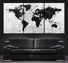 World Map Canvas Large Wall Art World Map Canvas Print Contemporary 3 Panel