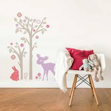 autocollant chambre bébé sticker mural lapin faon et arbre motif enfant fille pour