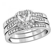 Sterling Silver Wedding Ring Sets by His Hers 4 Pcs Stainless Steel Matching Band Women Heart Cut