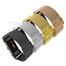 gold band mesh stainless steel band for fitbit charge 2