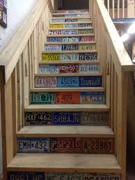 license plate hanging for the home pinterest license plates skip the plates i like the raw wood stairs