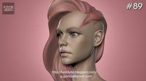 zbrush sculpting polypaint shaved side haircut youtube